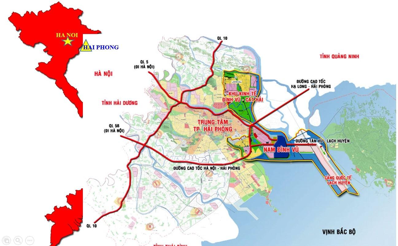 Nam Đình Vũ IP nằm trong trục chính của tam giác kinh tế Đông Bắc Bộ bao gồm Hà Nội